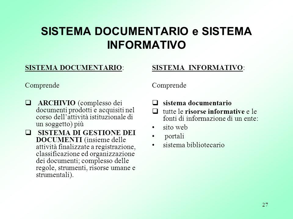 SISTEMA DOCUMENTARIO e SISTEMA INFORMATIVO