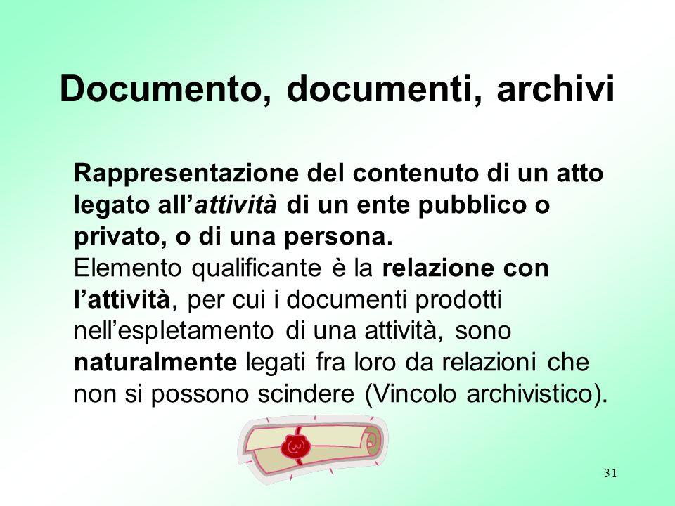 Documento, documenti, archivi