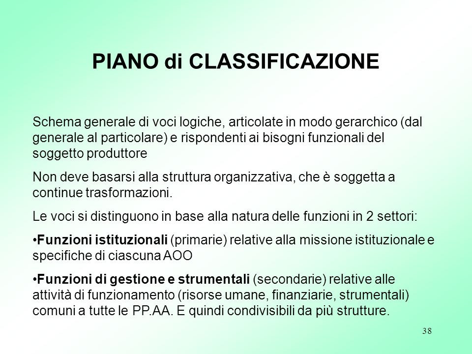 PIANO di CLASSIFICAZIONE