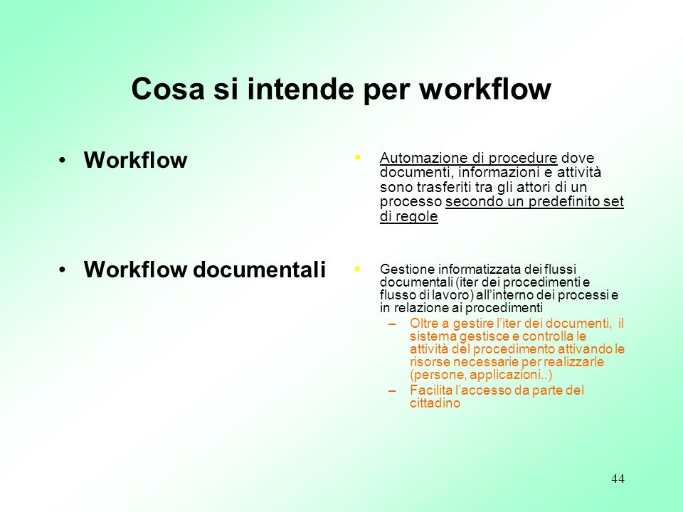 Cosa si intende per workflow