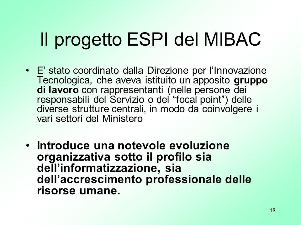 Il progetto ESPI del MIBAC
