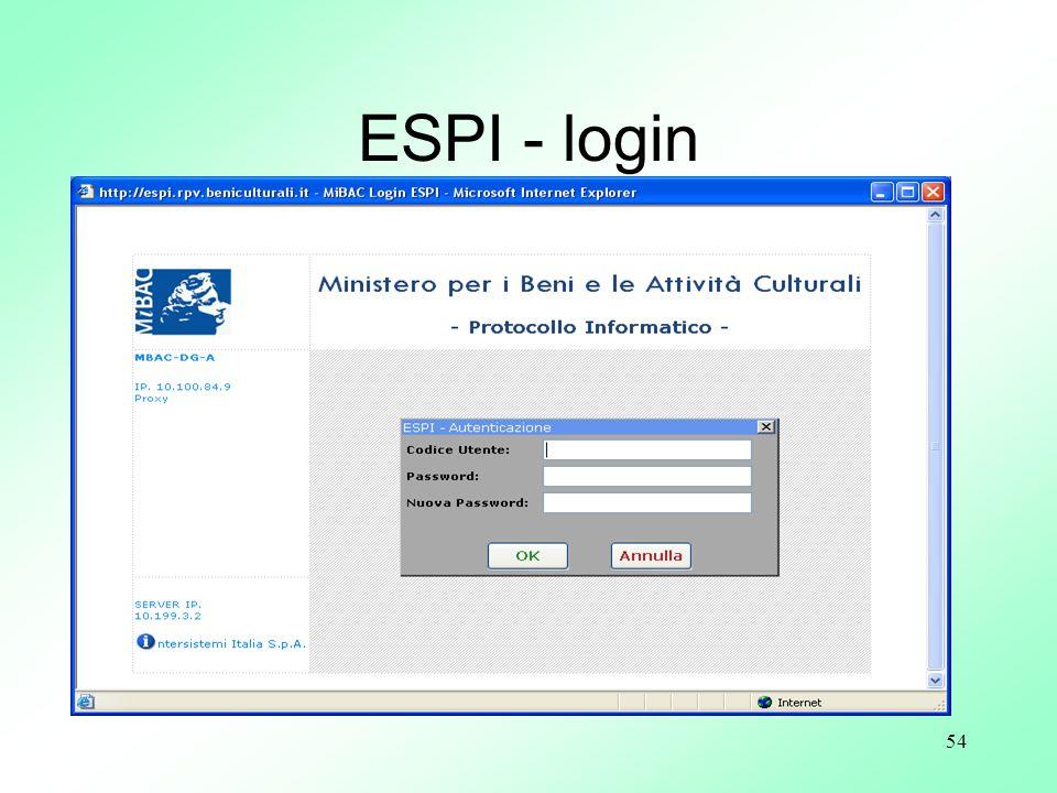 ESPI - login Schermata di entrata al programma Requisiti di sicurezza: