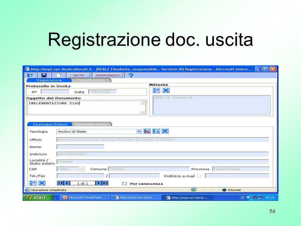Registrazione doc. uscita