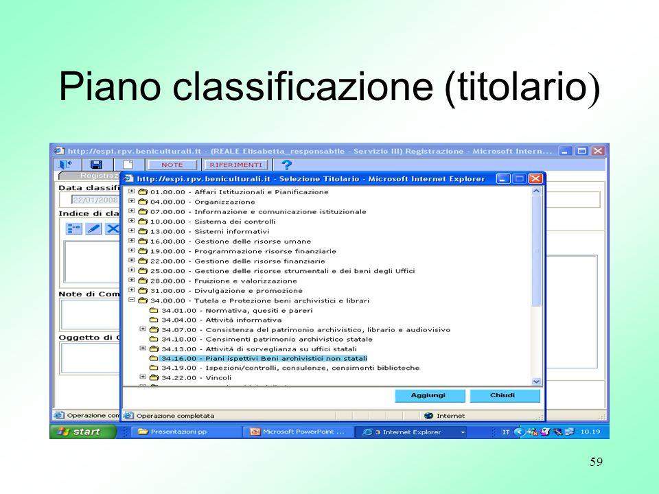 Piano classificazione (titolario)
