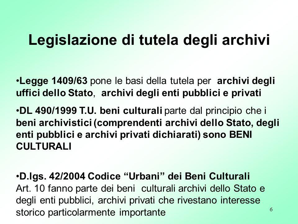 Legislazione di tutela degli archivi