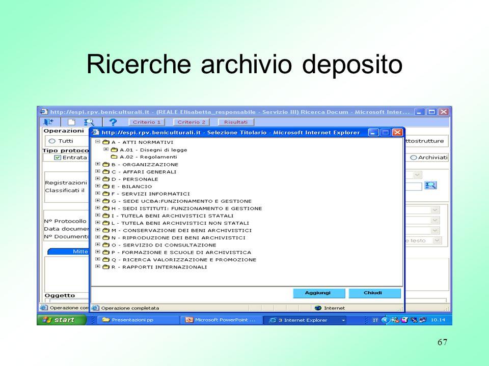 Ricerche archivio deposito