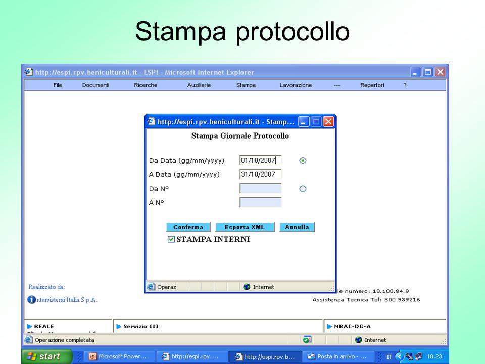 Stampa protocollo