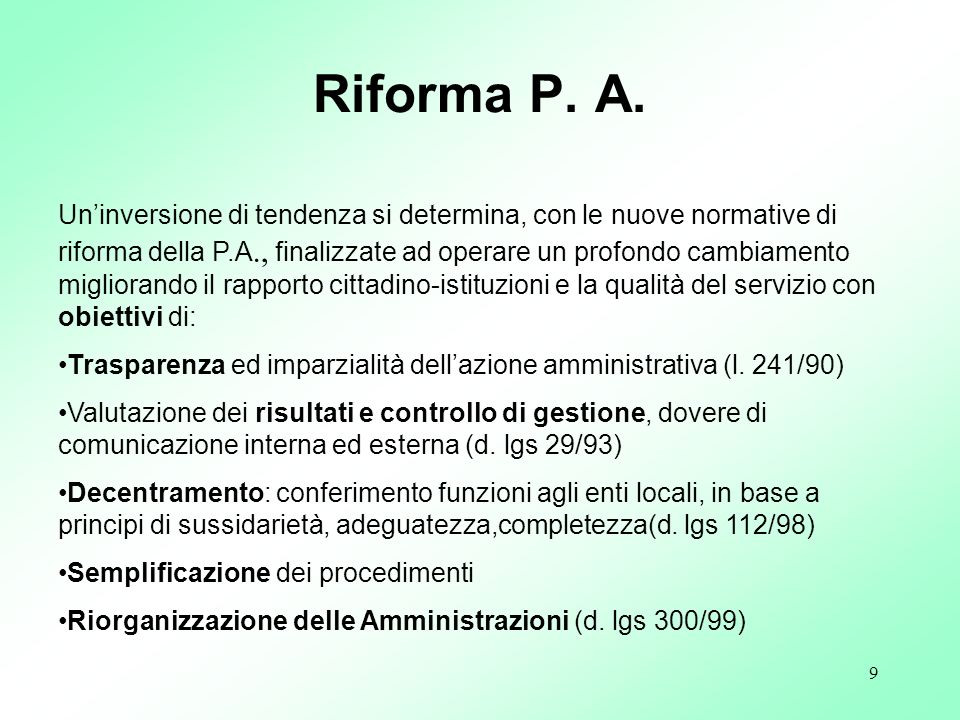 Riforma P. A.