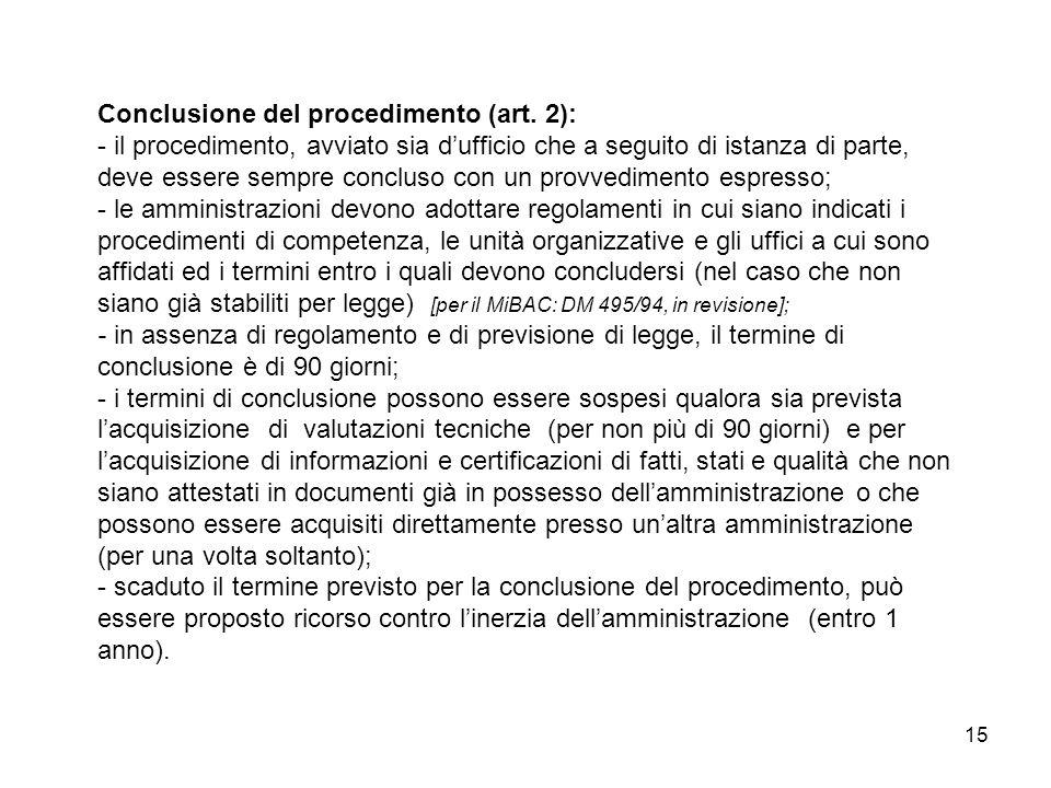 Conclusione del procedimento (art