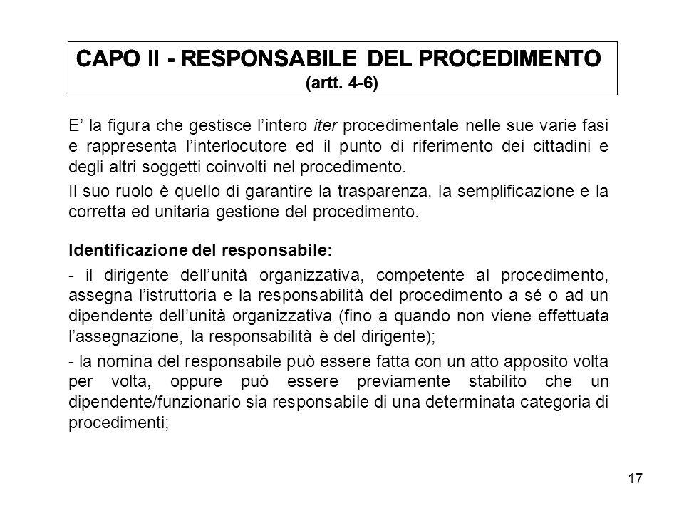 CAPO II - RESPONSABILE DEL PROCEDIMENTO