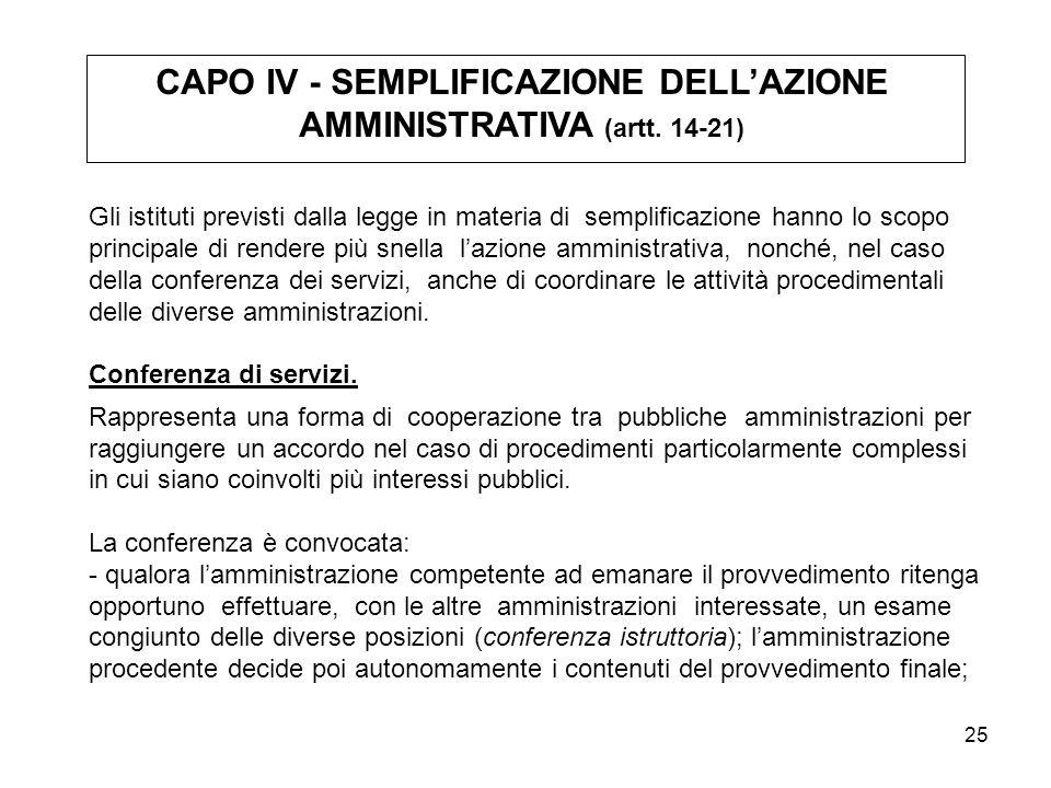 CAPO IV - SEMPLIFICAZIONE DELL'AZIONE AMMINISTRATIVA (artt. 14-21)