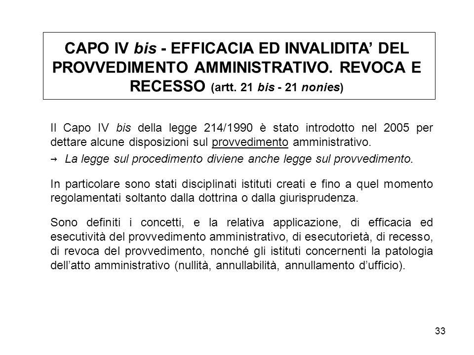 CAPO IV bis - EFFICACIA ED INVALIDITA' DEL PROVVEDIMENTO AMMINISTRATIVO. REVOCA E RECESSO (artt. 21 bis - 21 nonies)