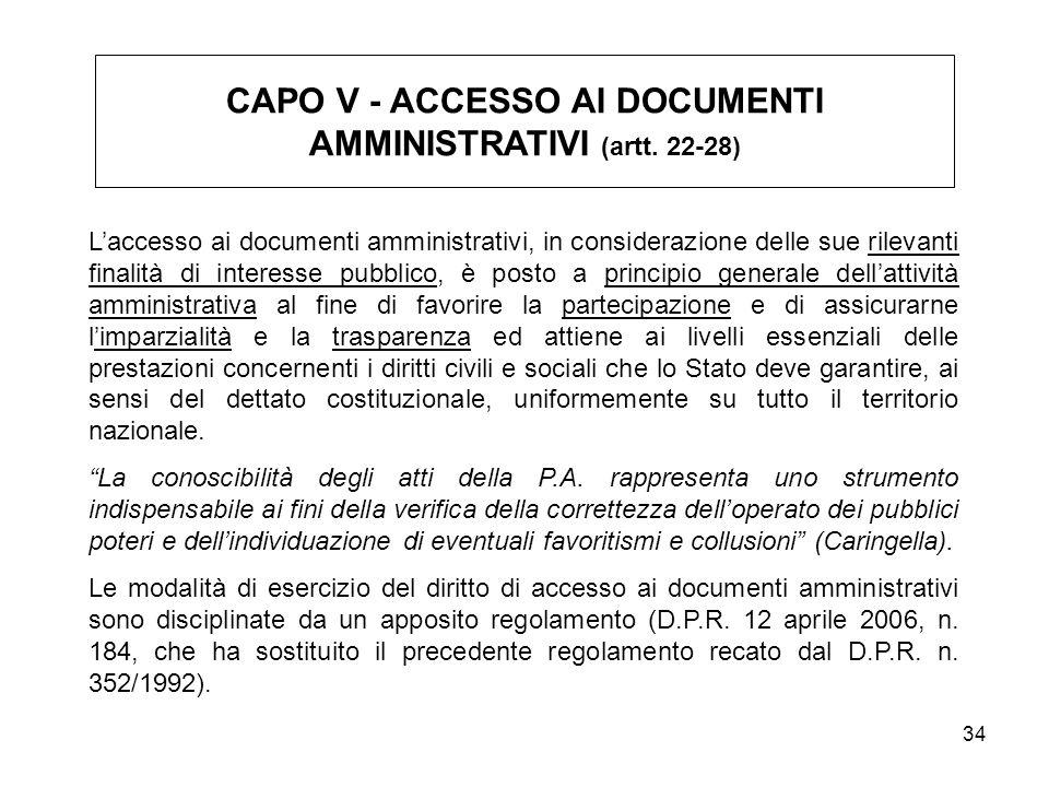 CAPO V - ACCESSO AI DOCUMENTI AMMINISTRATIVI (artt. 22-28)