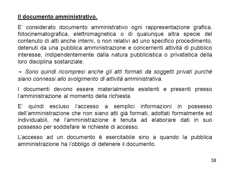 Il documento amministrativo.
