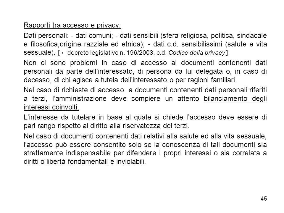 Rapporti tra accesso e privacy.