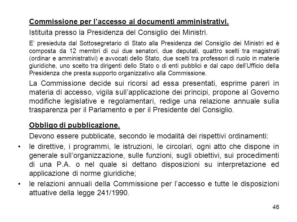 Commissione per l'accesso ai documenti amministrativi.