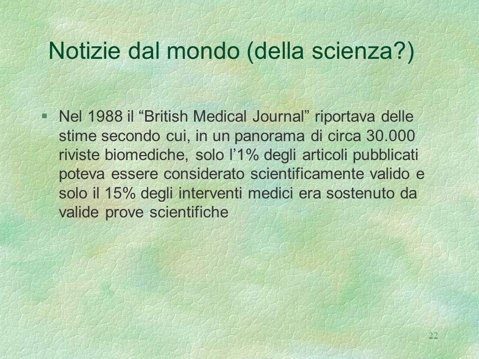 Notizie dal mondo (della scienza )