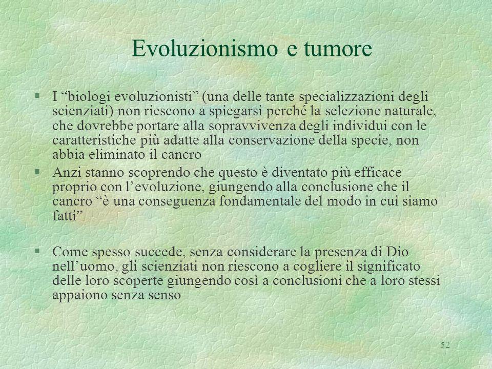 Evoluzionismo e tumore