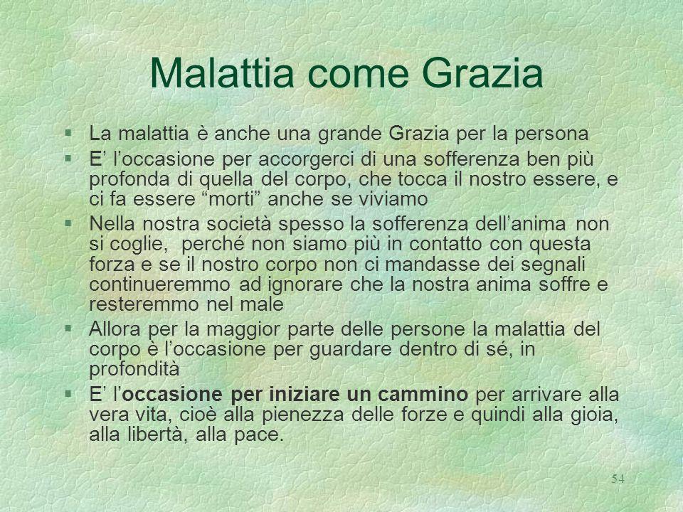Malattia come Grazia La malattia è anche una grande Grazia per la persona.