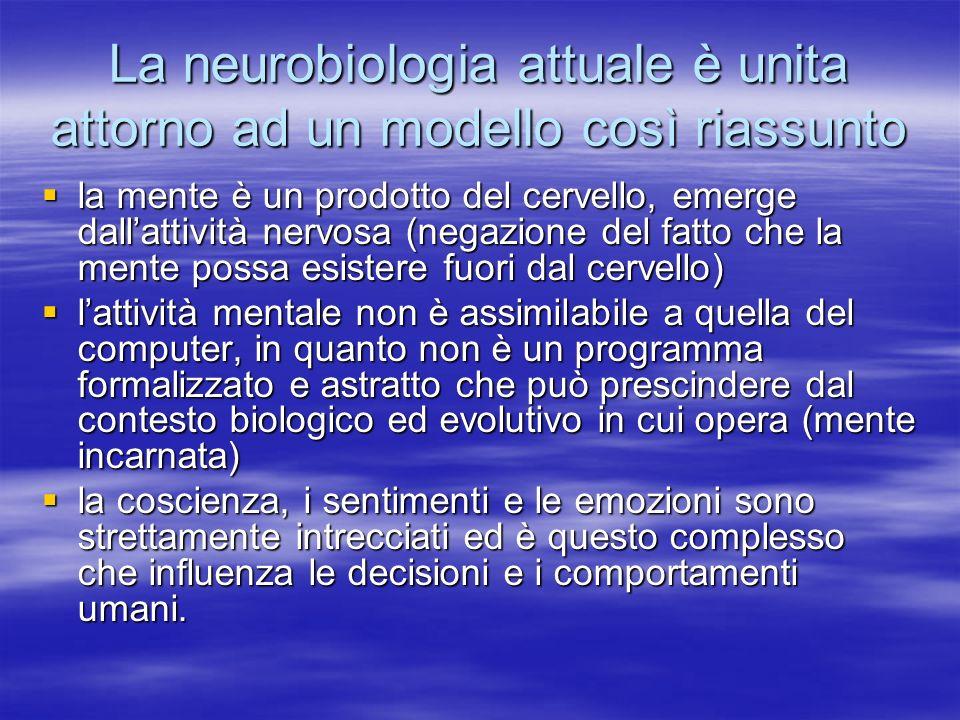 La neurobiologia attuale è unita attorno ad un modello così riassunto