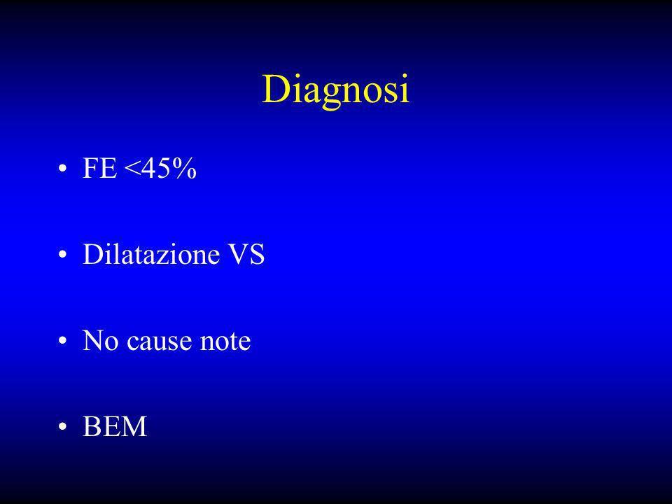 Diagnosi FE <45% Dilatazione VS No cause note BEM