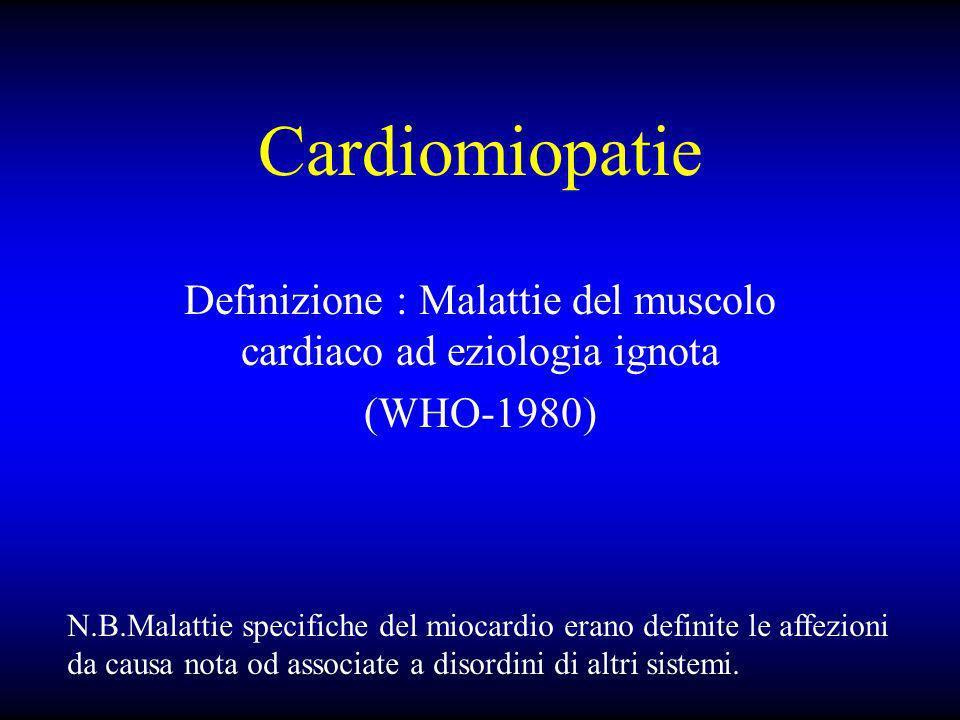Definizione : Malattie del muscolo cardiaco ad eziologia ignota