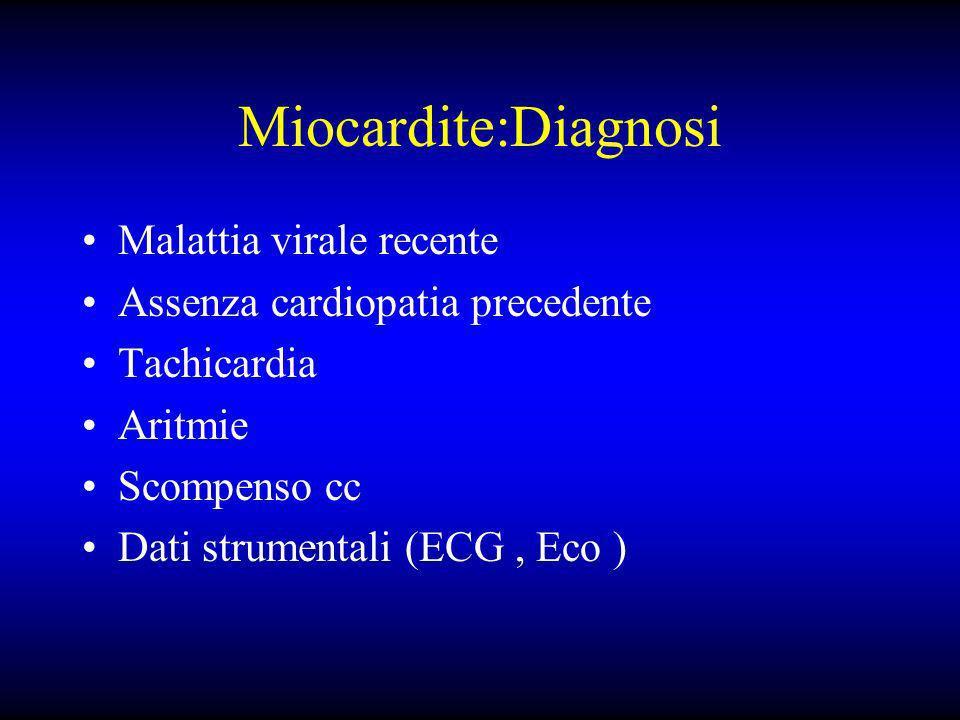 Miocardite:Diagnosi Malattia virale recente