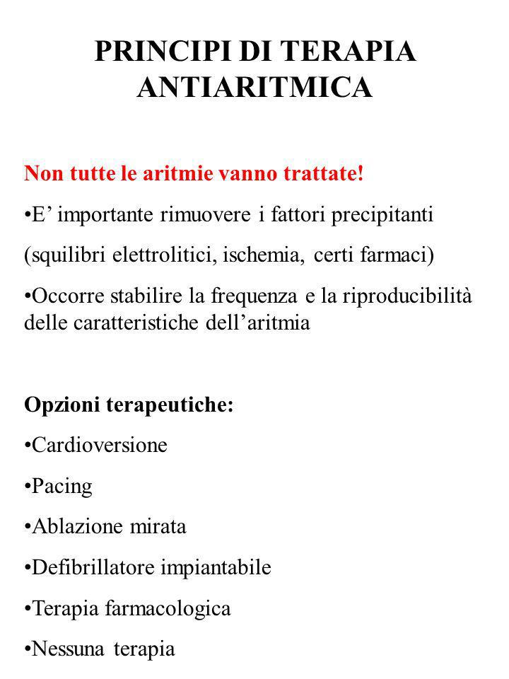 PRINCIPI DI TERAPIA ANTIARITMICA