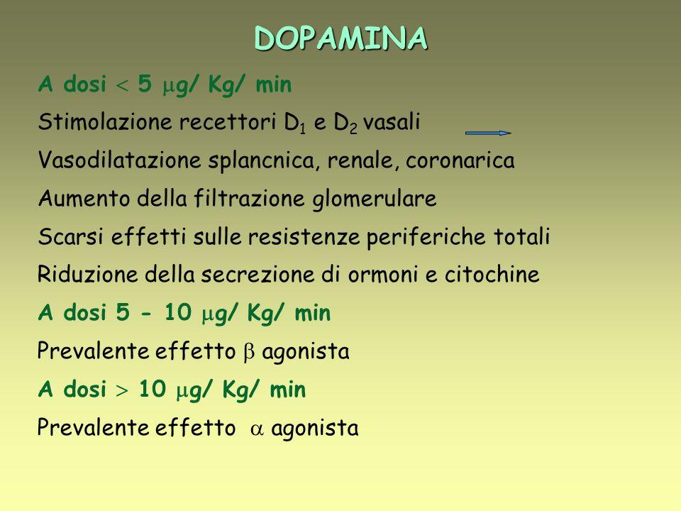 DOPAMINA A dosi  5 g/ Kg/ min Stimolazione recettori D1 e D2 vasali