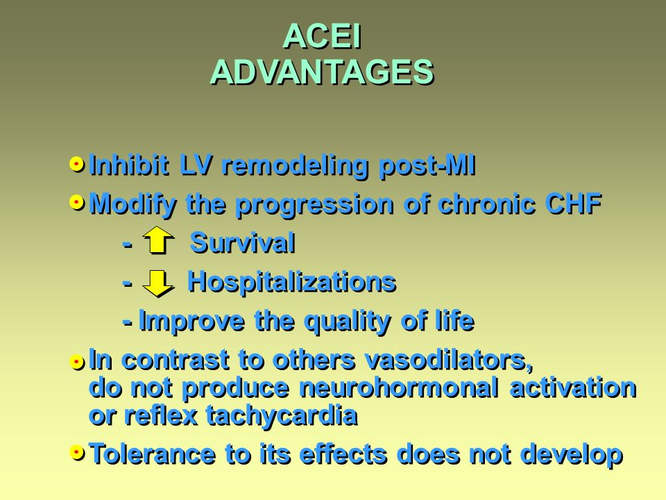 ACEI ADVANTAGES Inhibit LV remodeling post-MI