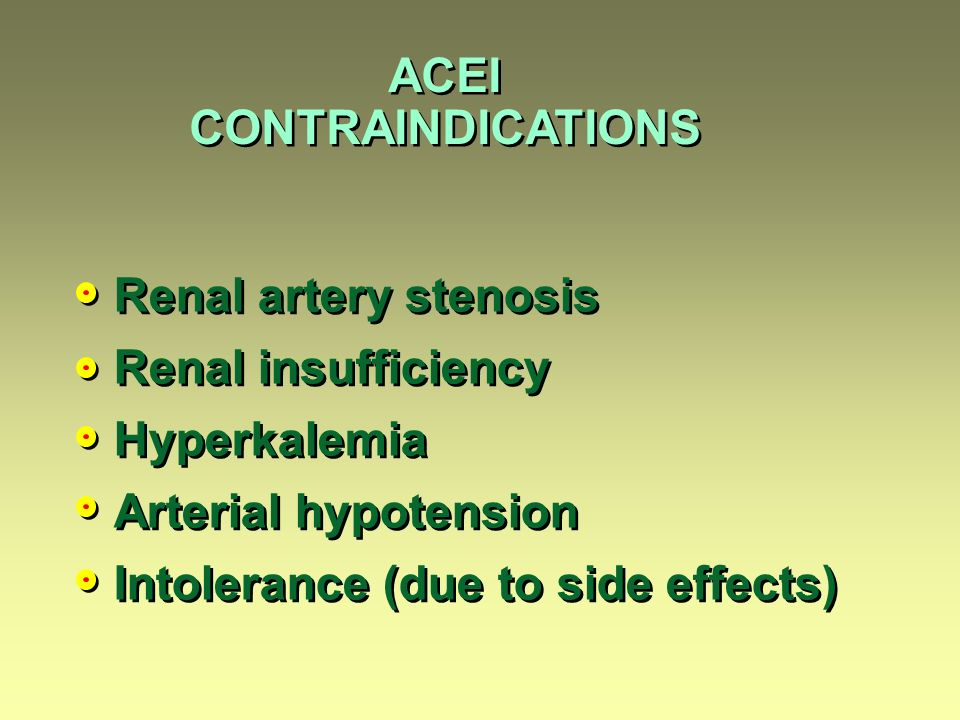 ACEI CONTRAINDICATIONS