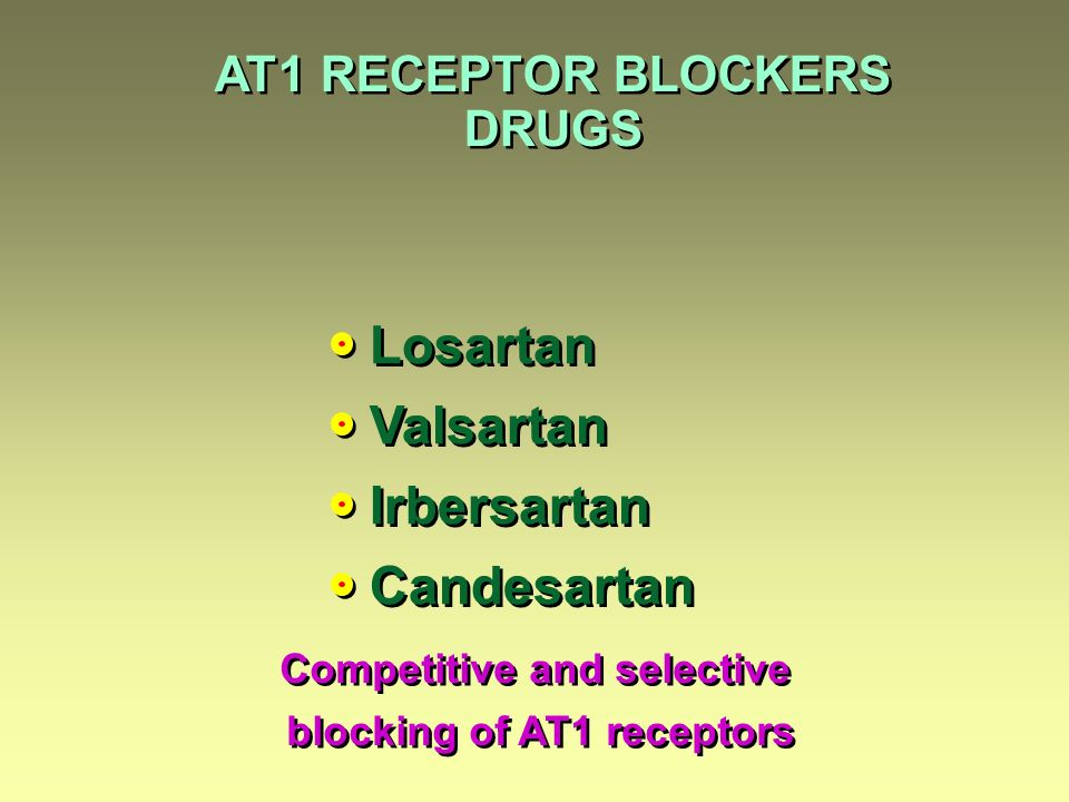 Competitive and selective blocking of AT1 receptors