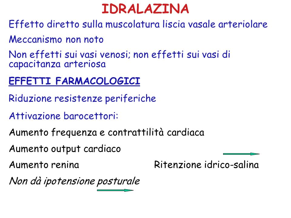 IDRALAZINA Effetto diretto sulla muscolatura liscia vasale arteriolare
