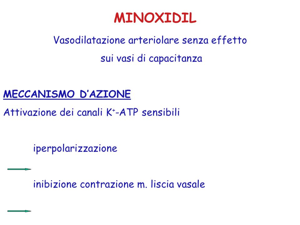 MINOXIDIL Vasodilatazione arteriolare senza effetto