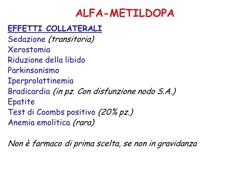 ALFA-METILDOPA EFFETTI COLLATERALI Sedazione (transitoria) Xerostomia