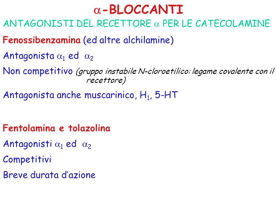 -BLOCCANTI ANTAGONISTI DEL RECETTORE  PER LE CATECOLAMINE