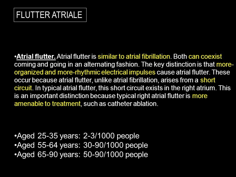 FLUTTER ATRIALE Aged 25-35 years: 2-3/1000 people