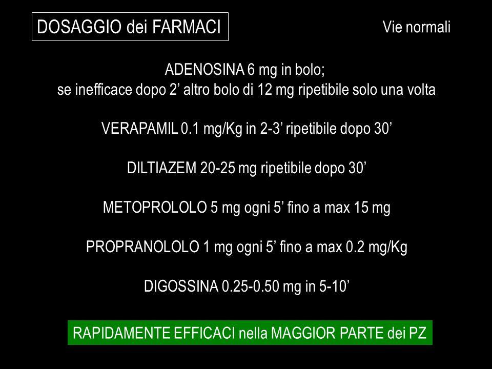 DOSAGGIO dei FARMACI Vie normali ADENOSINA 6 mg in bolo;