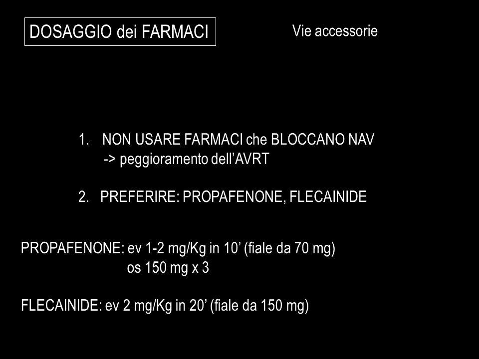 DOSAGGIO dei FARMACI Vie accessorie NON USARE FARMACI che BLOCCANO NAV