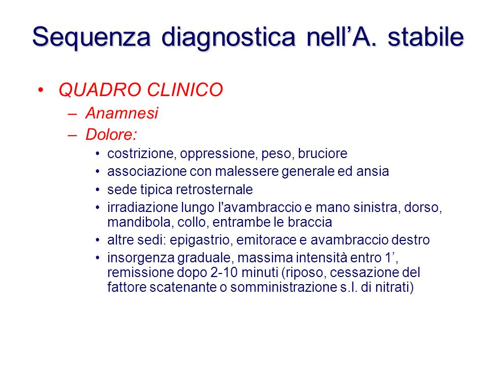 Sequenza diagnostica nell'A. stabile