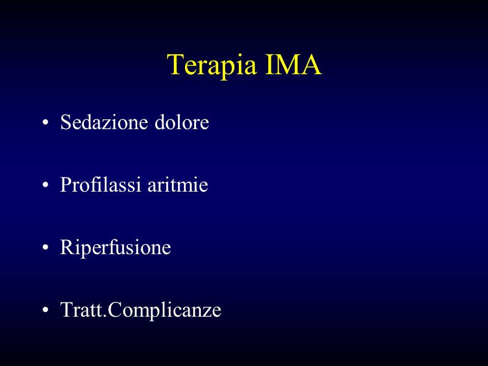 Terapia IMA Sedazione dolore Profilassi aritmie Riperfusione