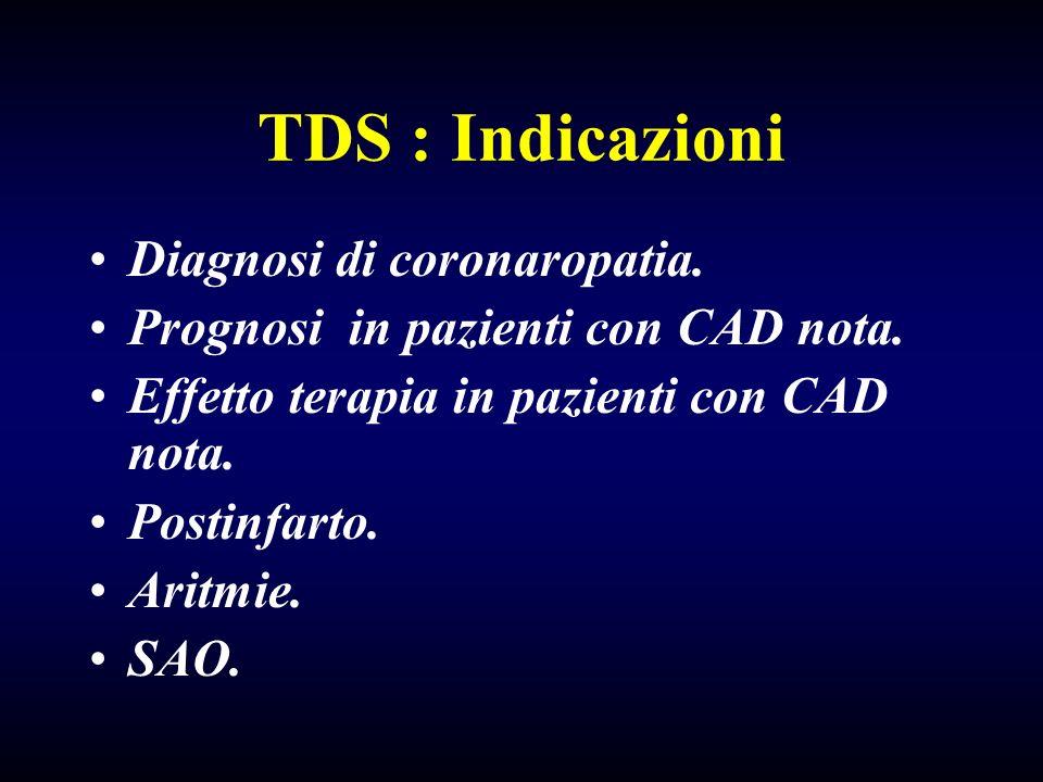 TDS : Indicazioni Diagnosi di coronaropatia.