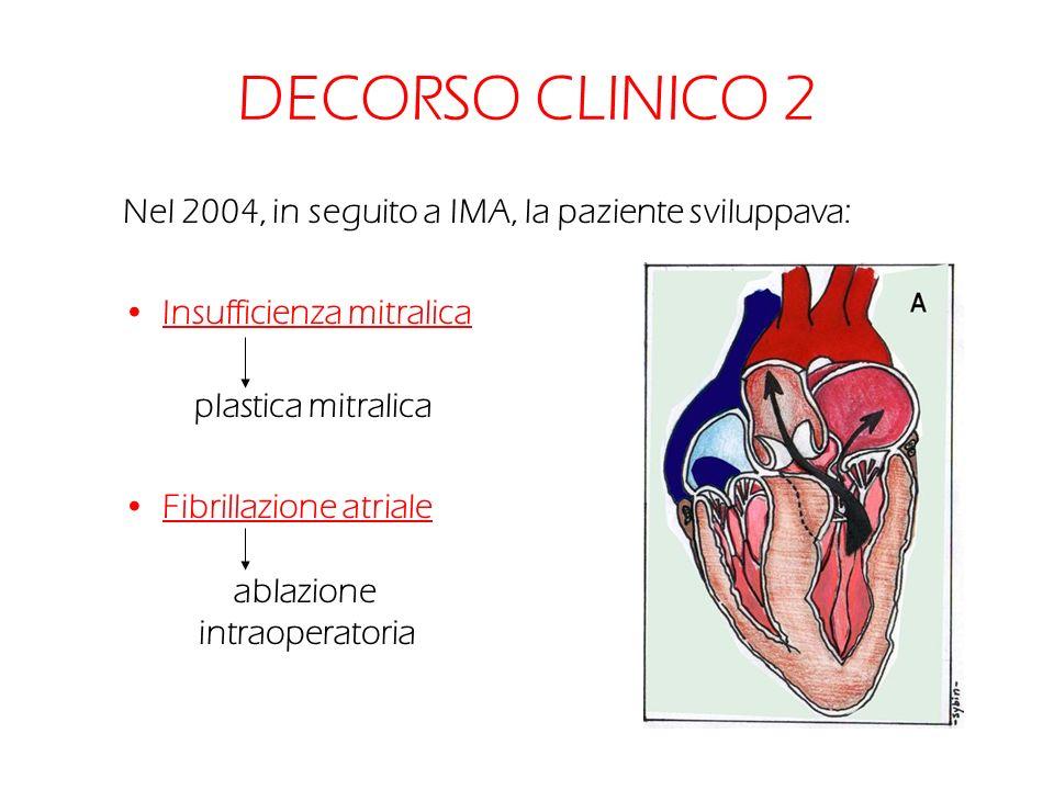 DECORSO CLINICO 2 Nel 2004, in seguito a IMA, la paziente sviluppava: