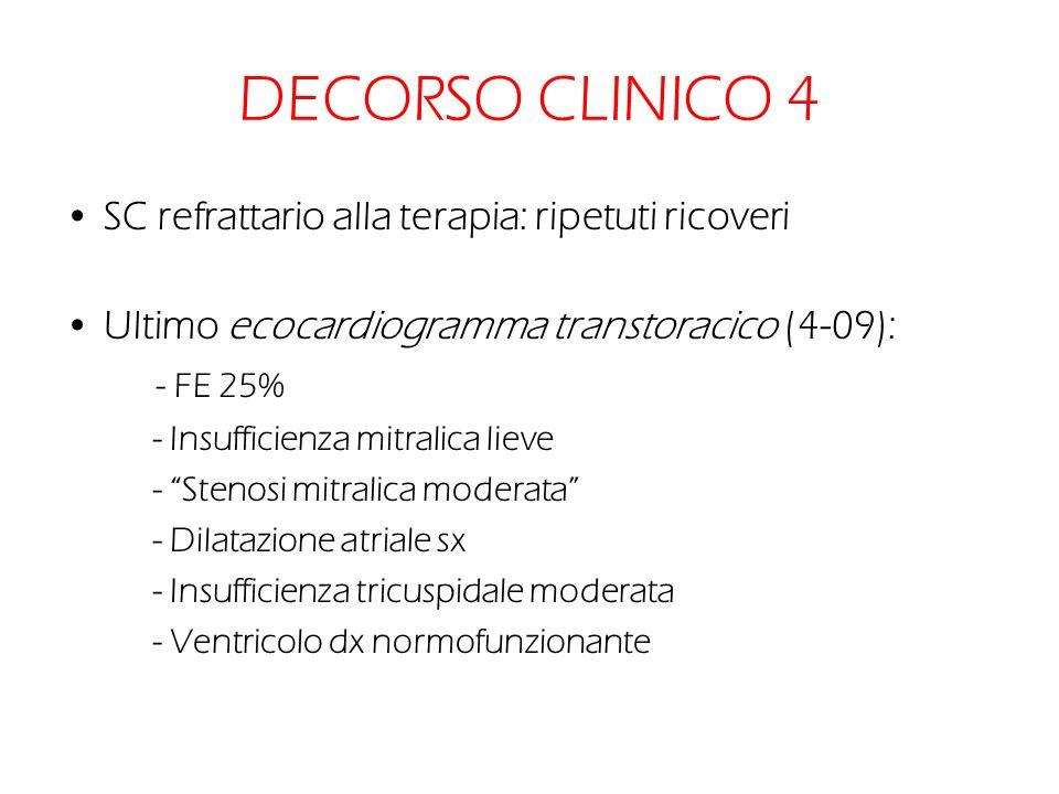 DECORSO CLINICO 4 SC refrattario alla terapia: ripetuti ricoveri