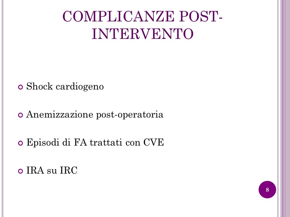 COMPLICANZE POST-INTERVENTO