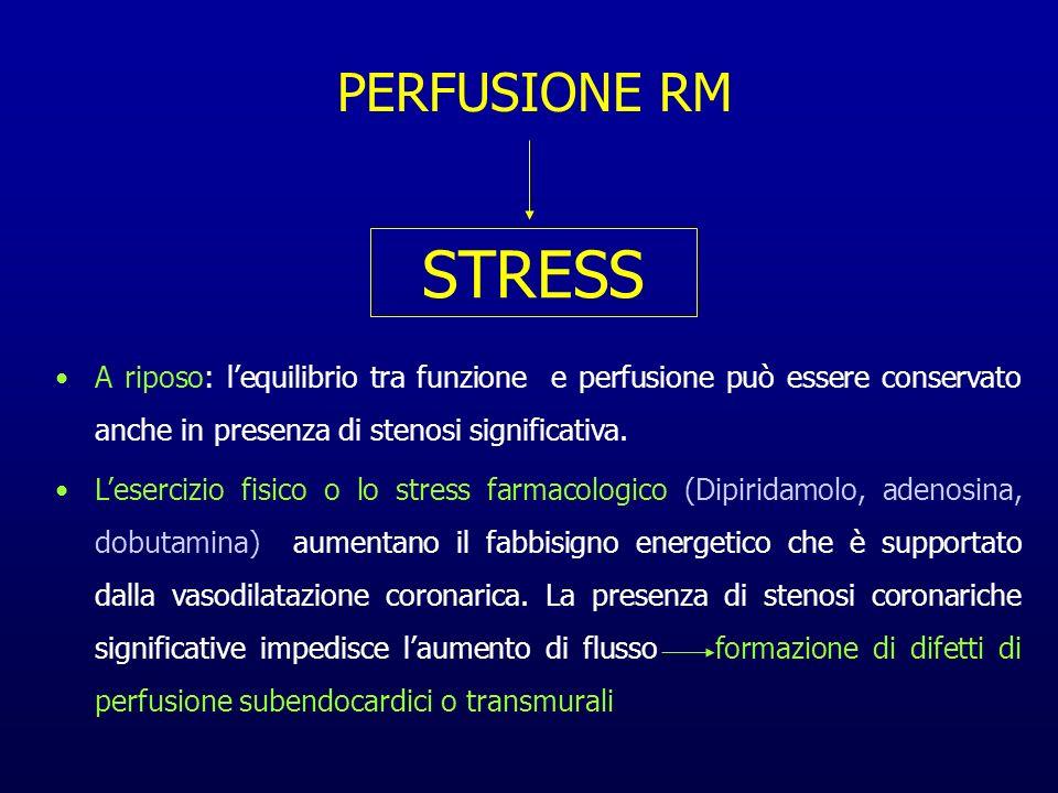 PERFUSIONE RM STRESS. A riposo: l'equilibrio tra funzione e perfusione può essere conservato anche in presenza di stenosi significativa.