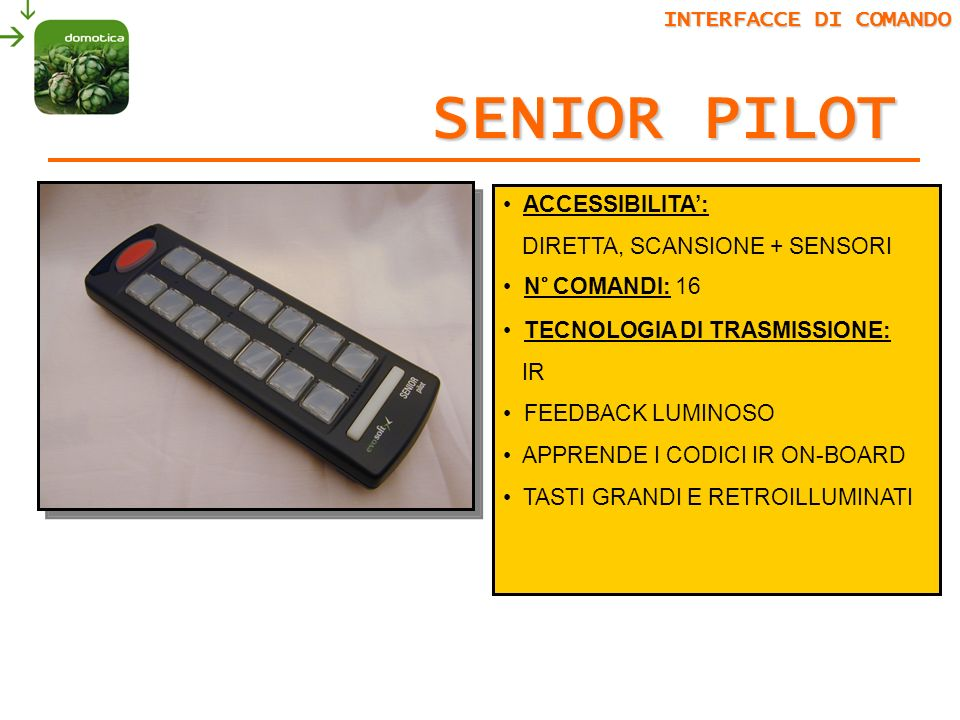 SENIOR PILOT INTERFACCE DI COMANDO ACCESSIBILITA':