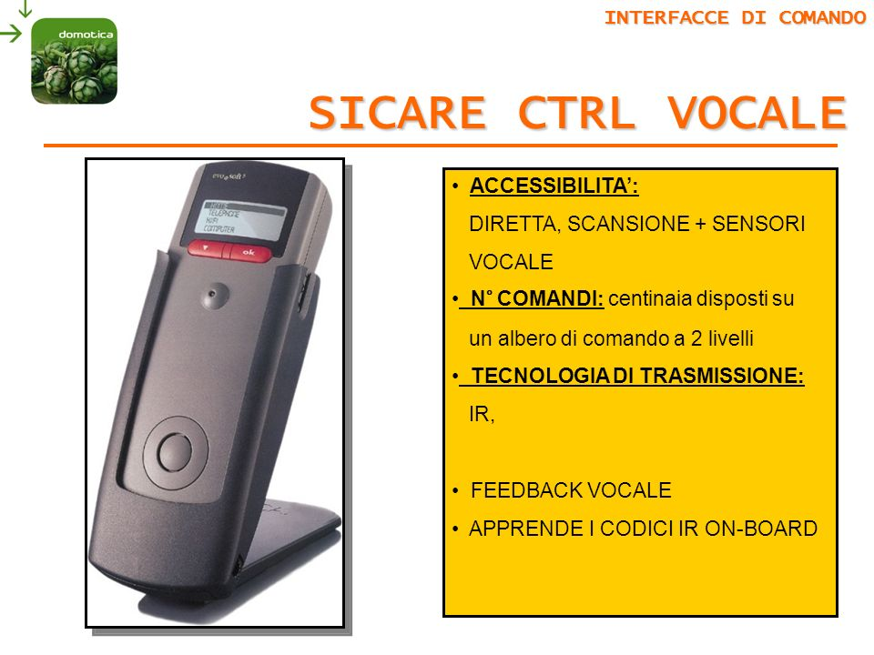SICARE CTRL VOCALE INTERFACCE DI COMANDO ACCESSIBILITA':