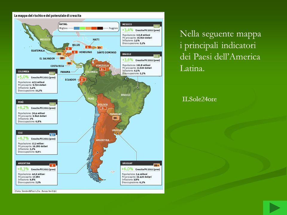 Nella seguente mappa i principali indicatori dei Paesi dell'America Latina.