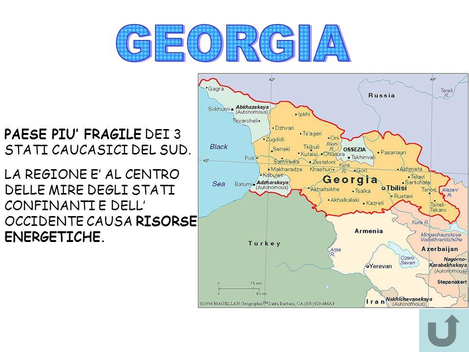 GEORGIA PAESE PIU' FRAGILE DEI 3 STATI CAUCASICI DEL SUD.